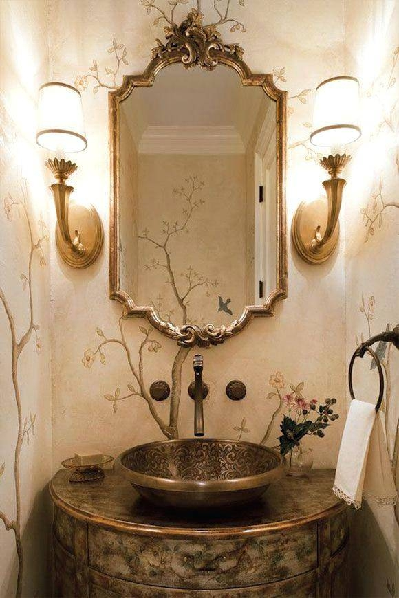 Inspiration about Beautiful Powder Room Design Featuring Brass Sconces Italian Inside Large Baroque Mirrors (#12 of 20)