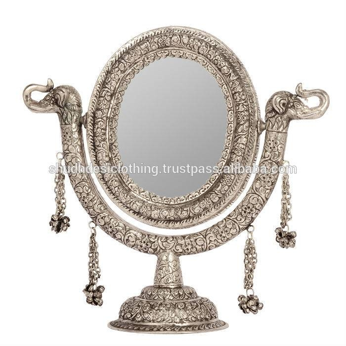 Beautiful Round Shape White Metal Stand Mirror – Buy White Metal For White Metal Mirrors (#9 of 20)
