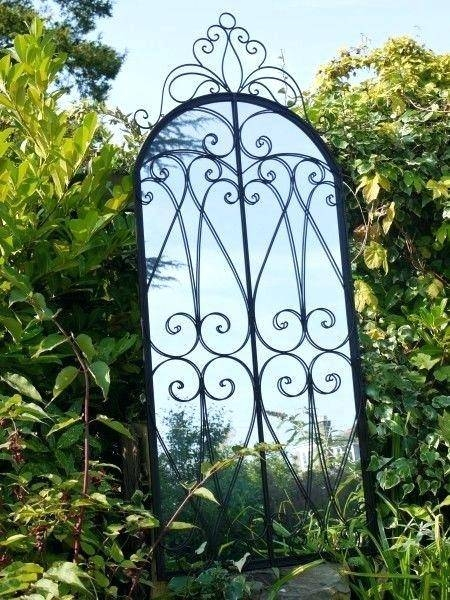 Beautiful Wrought Iron Perspective Outdoor Reflective Garden With Regard To Large Garden Mirrors (#16 of 30)
