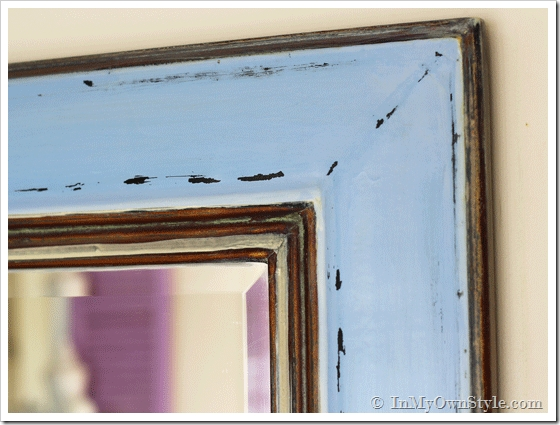 Before & After Mirror Makeover Using Glaze – In My Own Style Within Blue Distressed Mirrors (#13 of 30)