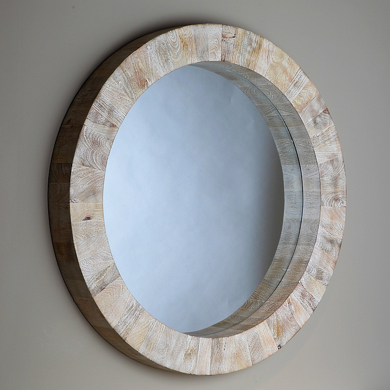Beige Driftwood Round Wall Mirror – The Designer Insider Regarding White Round Mirrors (#12 of 30)