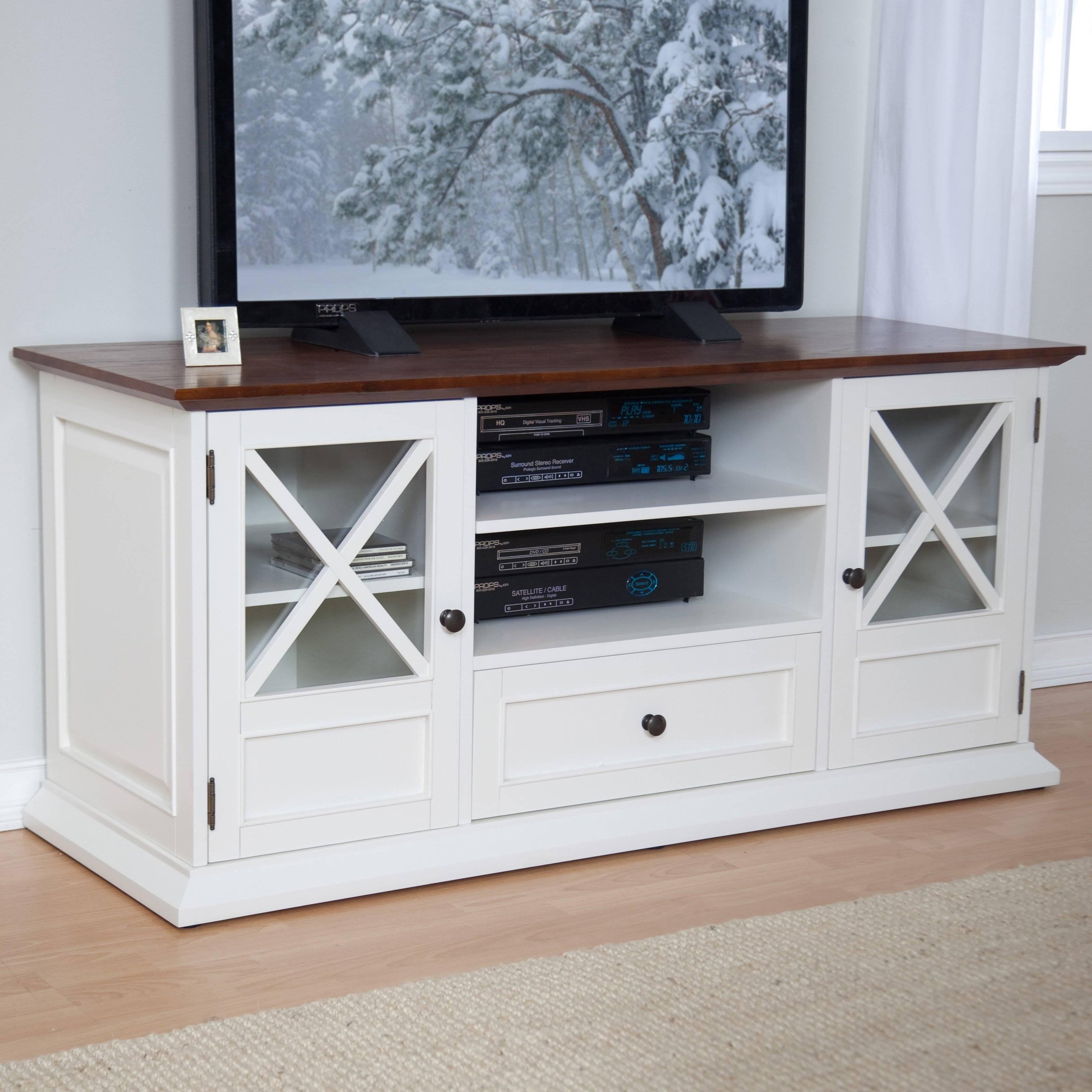 Belham Living Hampton Tv Stand – White/oak | Hayneedle Pertaining To Sideboard Tv Stand (#6 of 20)