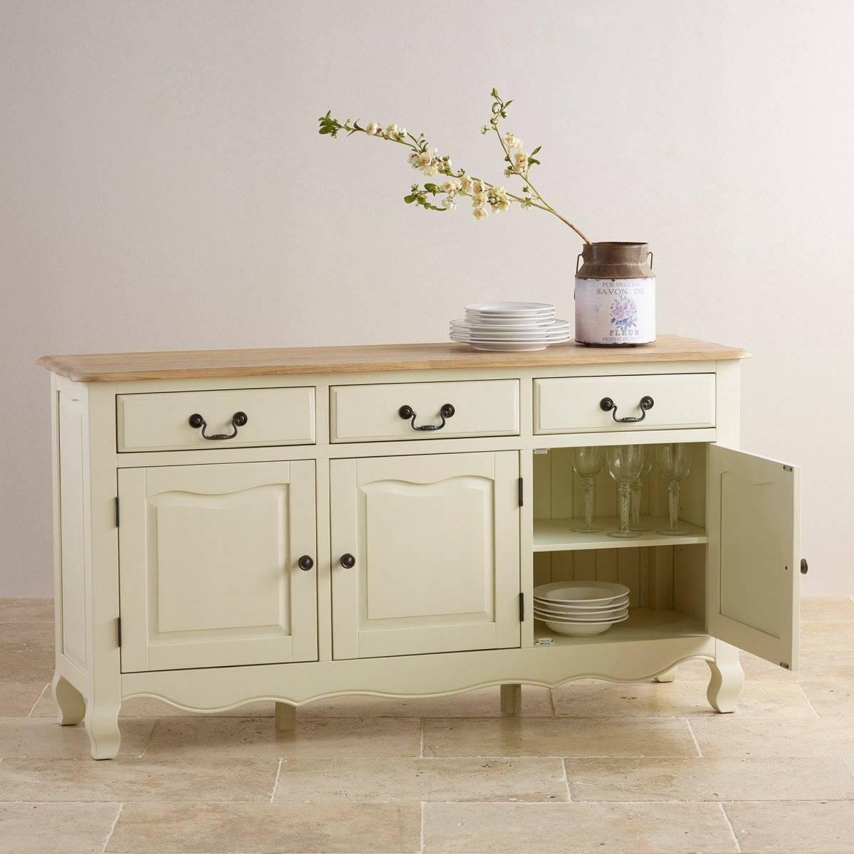 Bella Brushed Oak Painted Large Sideboardoak Furniture Land Throughout Large White Sideboard (#2 of 20)