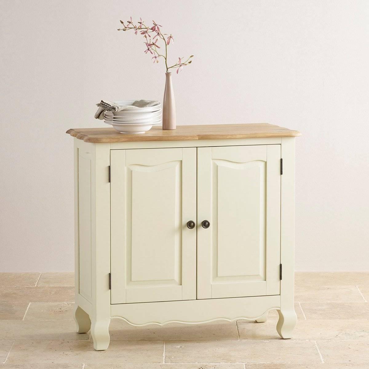 Bella Small Sideboard In Cream Painted Oak | Oak Furniture Land With Narrow Oak Sideboard (#1 of 20)