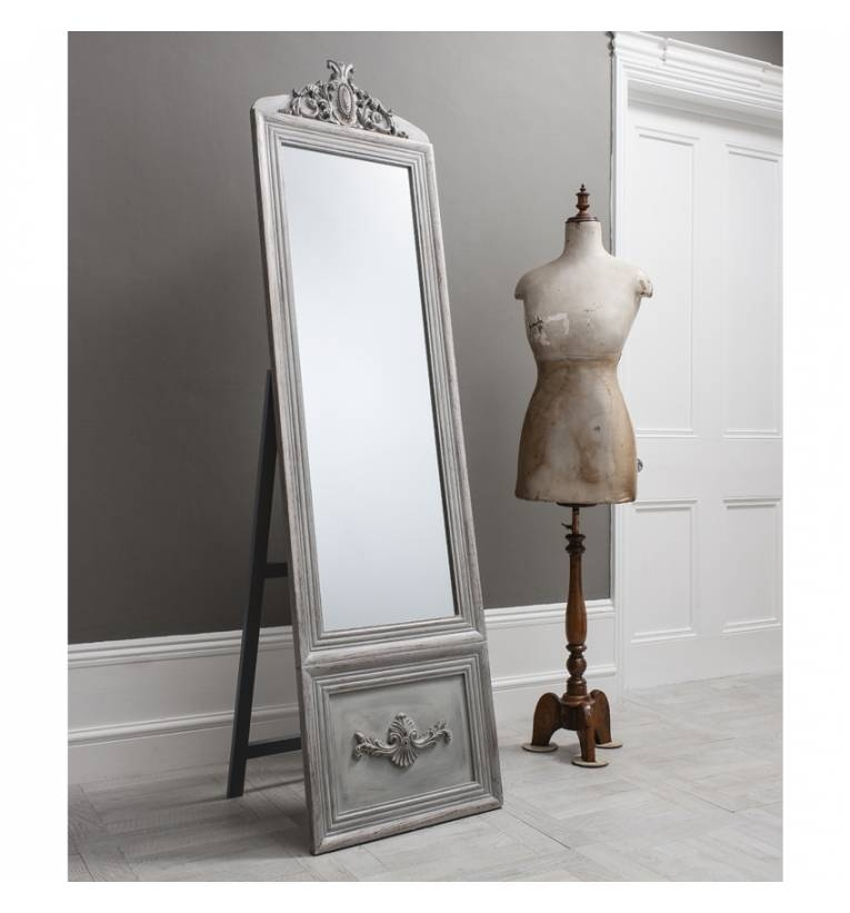 Belvedere Vintage Silver Cheval Mirror Belvedere Vintage Silver Regarding Silver Cheval Mirrors (#6 of 20)