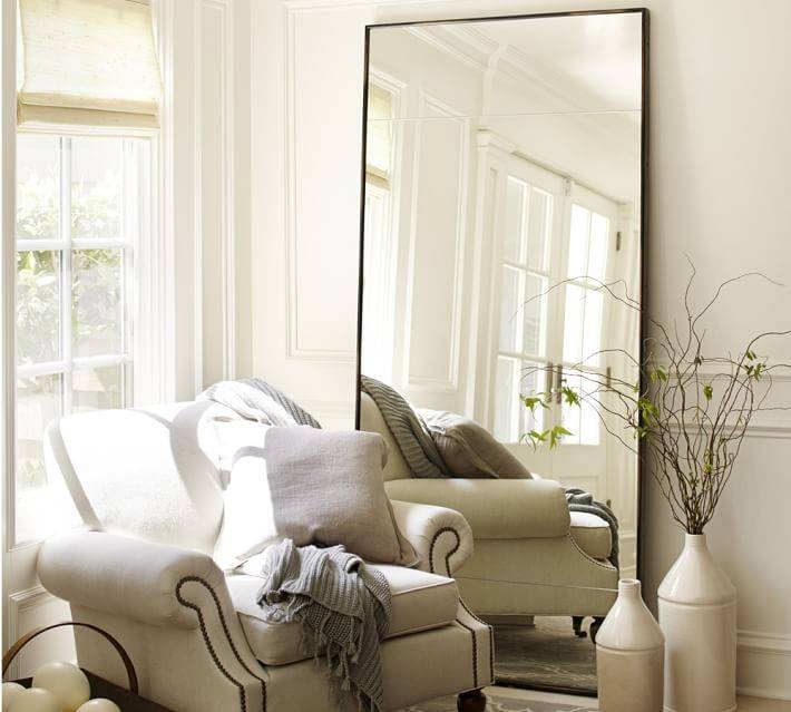 Berke Oversized Floor Mirror | Pottery Barn With Regard To Large White Floor Mirrors (#4 of 30)