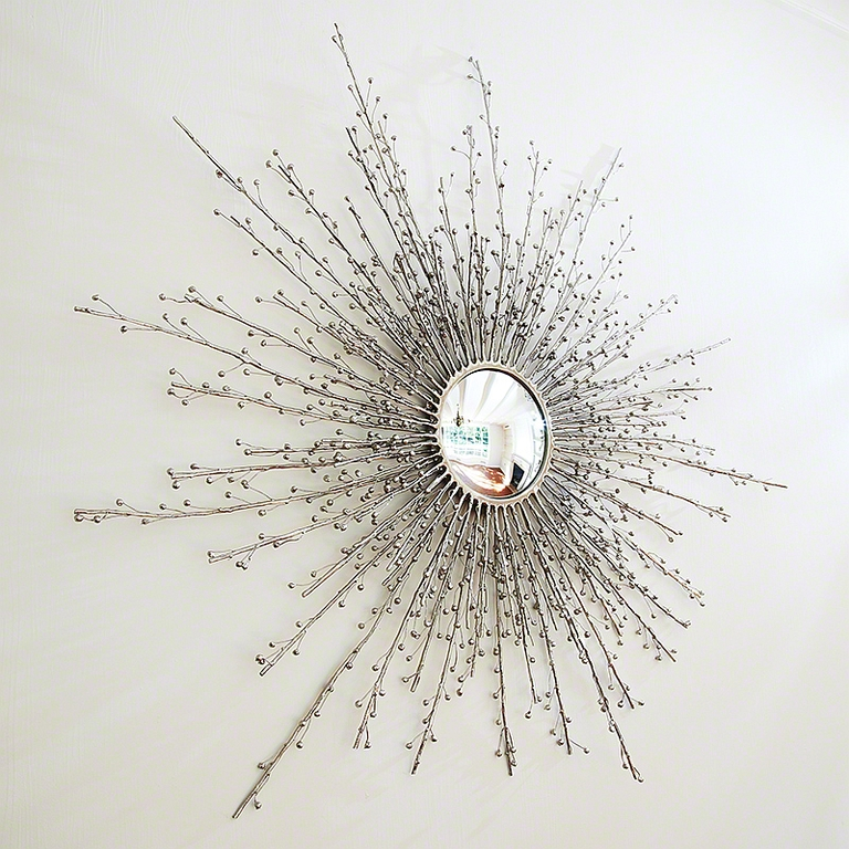 Berry Branch Sunburst Mirror In Nickel – The Designer Insider Inside Extra Large Sunburst Mirrors (#4 of 20)