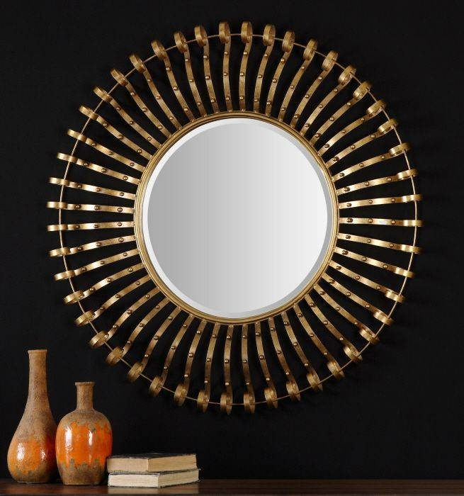 Popular Photo of Large Round Gold Mirrors