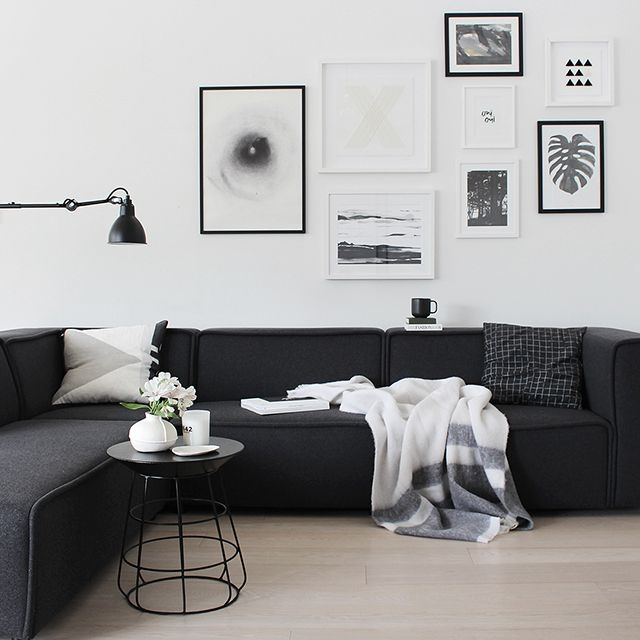 Best 20 Black Couch Decor Ideas On Pinterest Black Sofa Big Regarding White And Black Sofas (#3 of 15)