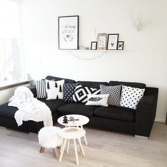 Best 20 Black Couch Decor Ideas On Pinterest Black Sofa Big Within White And Black Sofas (#4 of 15)