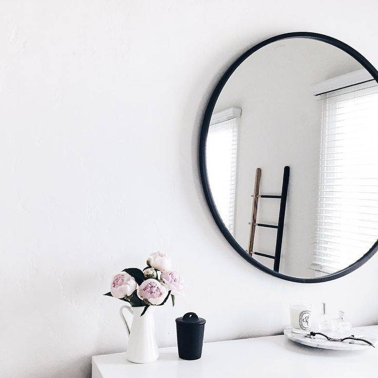 Black framed mirror upton mirror pottery barn bedroom for Big black wall mirror
