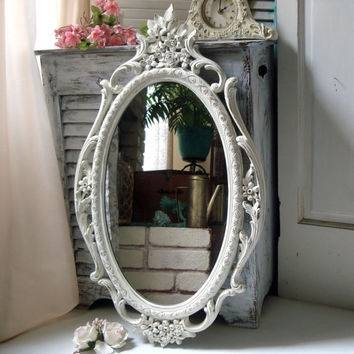 Best Ornate Shabby Chic White Mirror Products On Wanelo Throughout Antique White Oval Mirrors (View 8 of 20)