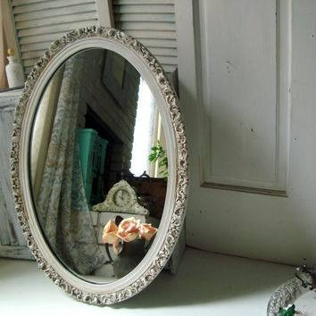 Best Ornate Shabby Chic White Mirror Products On Wanelo Throughout Oval Cream Mirrors (#19 of 30)