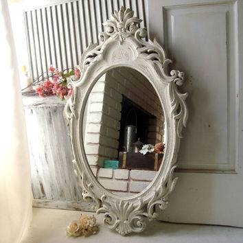 Best Ornate Shabby Chic White Mirror Products On Wanelo With Oval Cream Mirrors (#20 of 30)