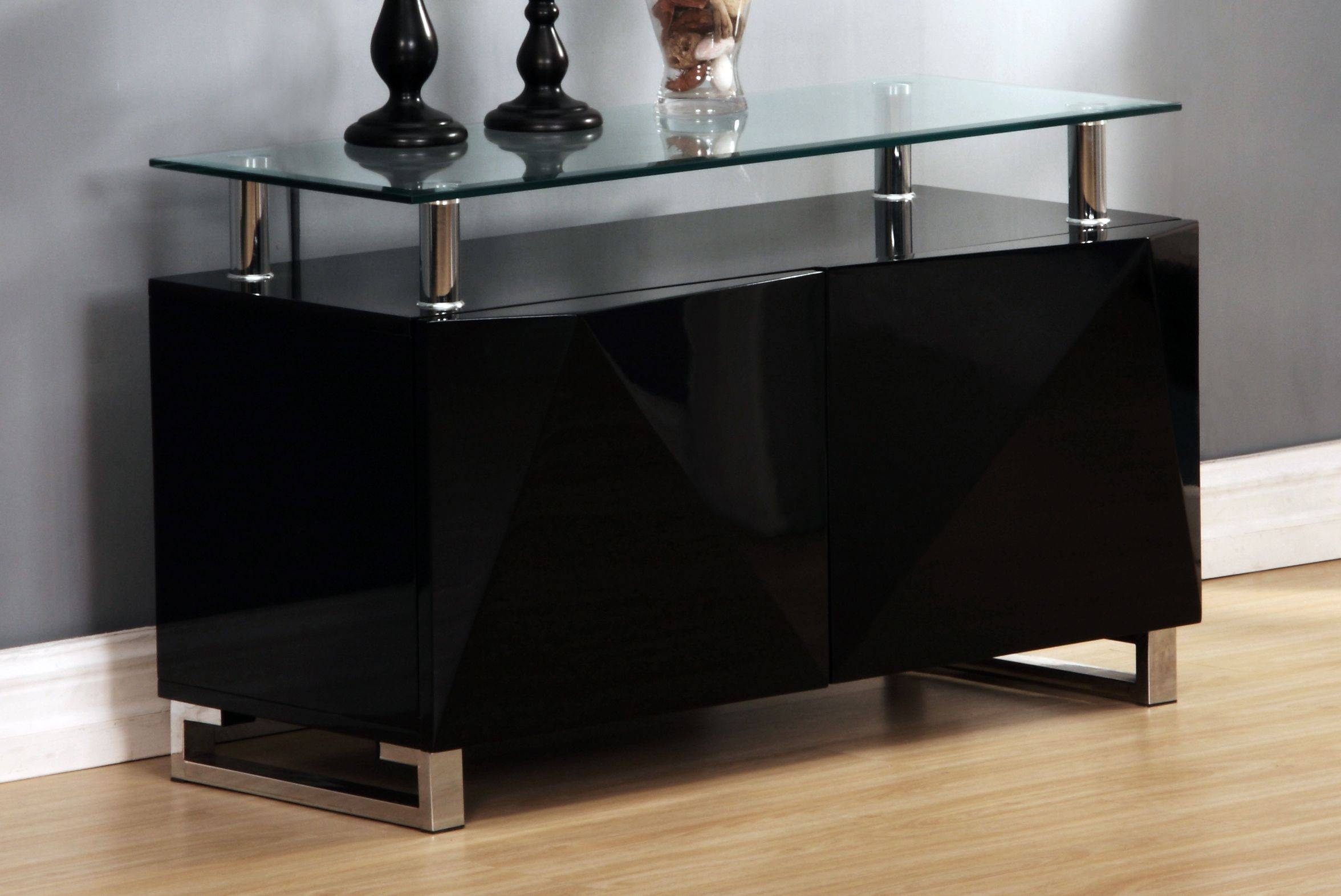Best Rowley Small Gloss Designer Sideboard Black Or White In Small Black Sideboard (#4 of 20)