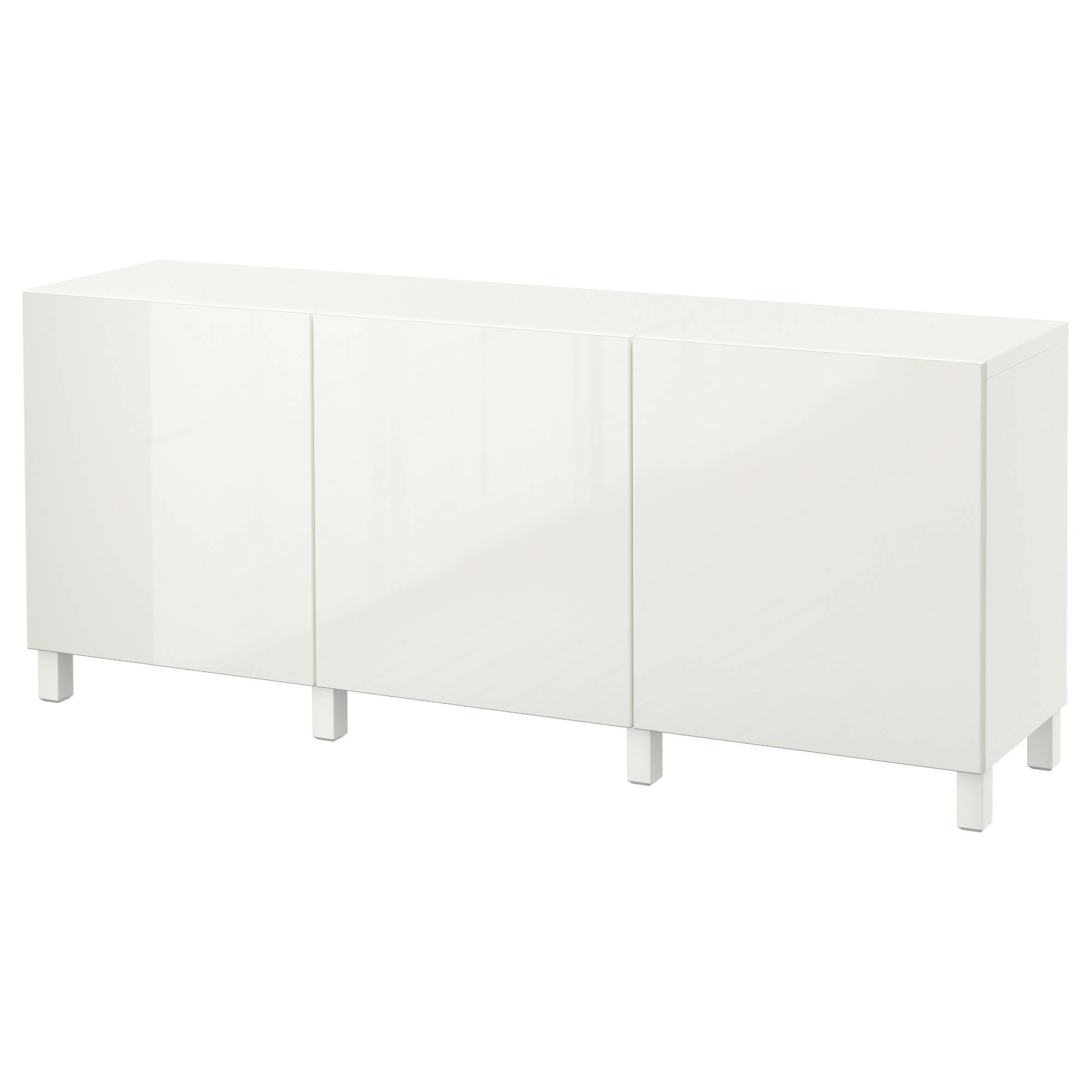 Bestå Storage Combination With Doors – White/selsviken High Gloss With Black Gloss Buffet Sideboard (View 15 of 20)