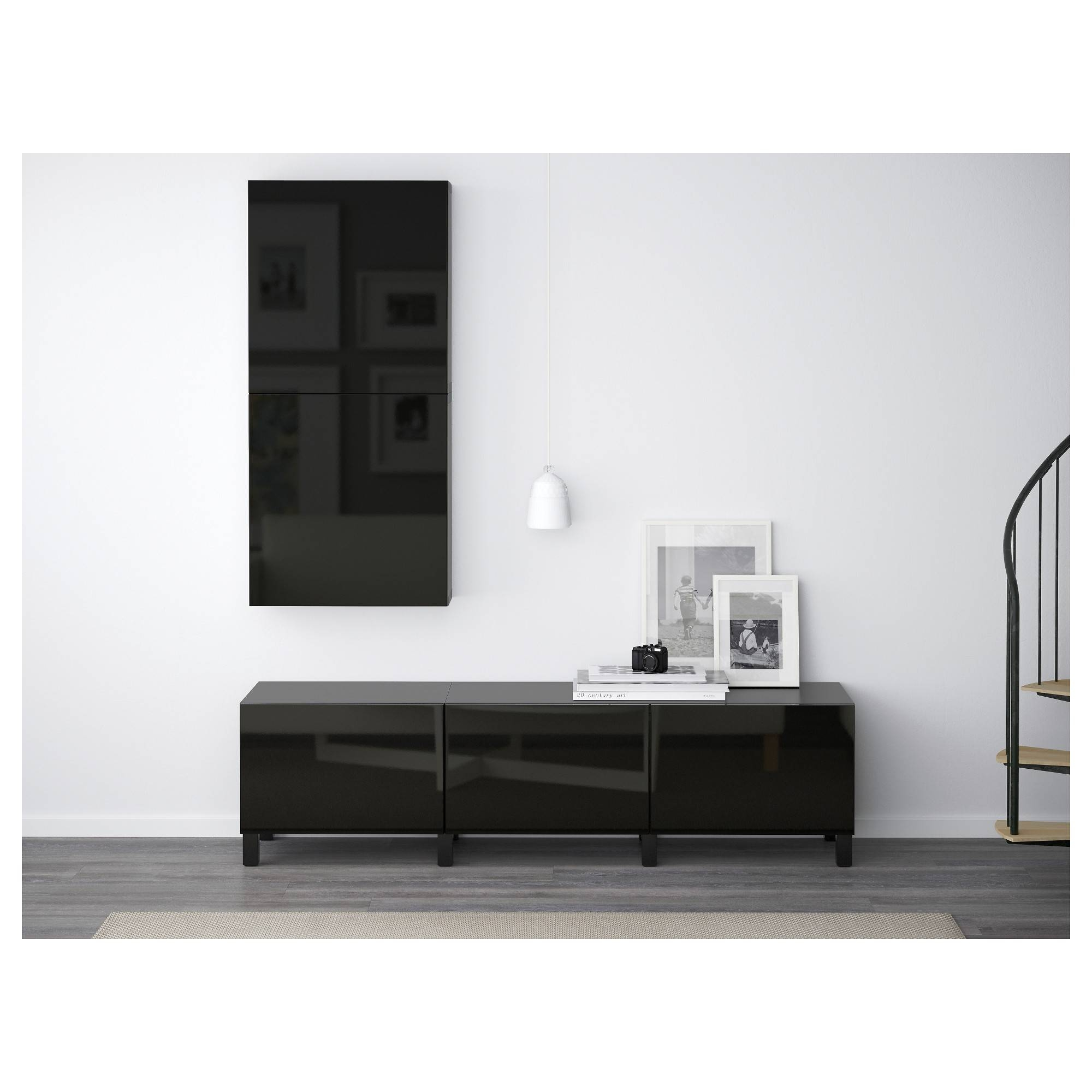 Bestå Wall Cabinet With 2 Doors Black Brown/selsviken High Gloss In High Gloss Black Sideboard (View 18 of 20)
