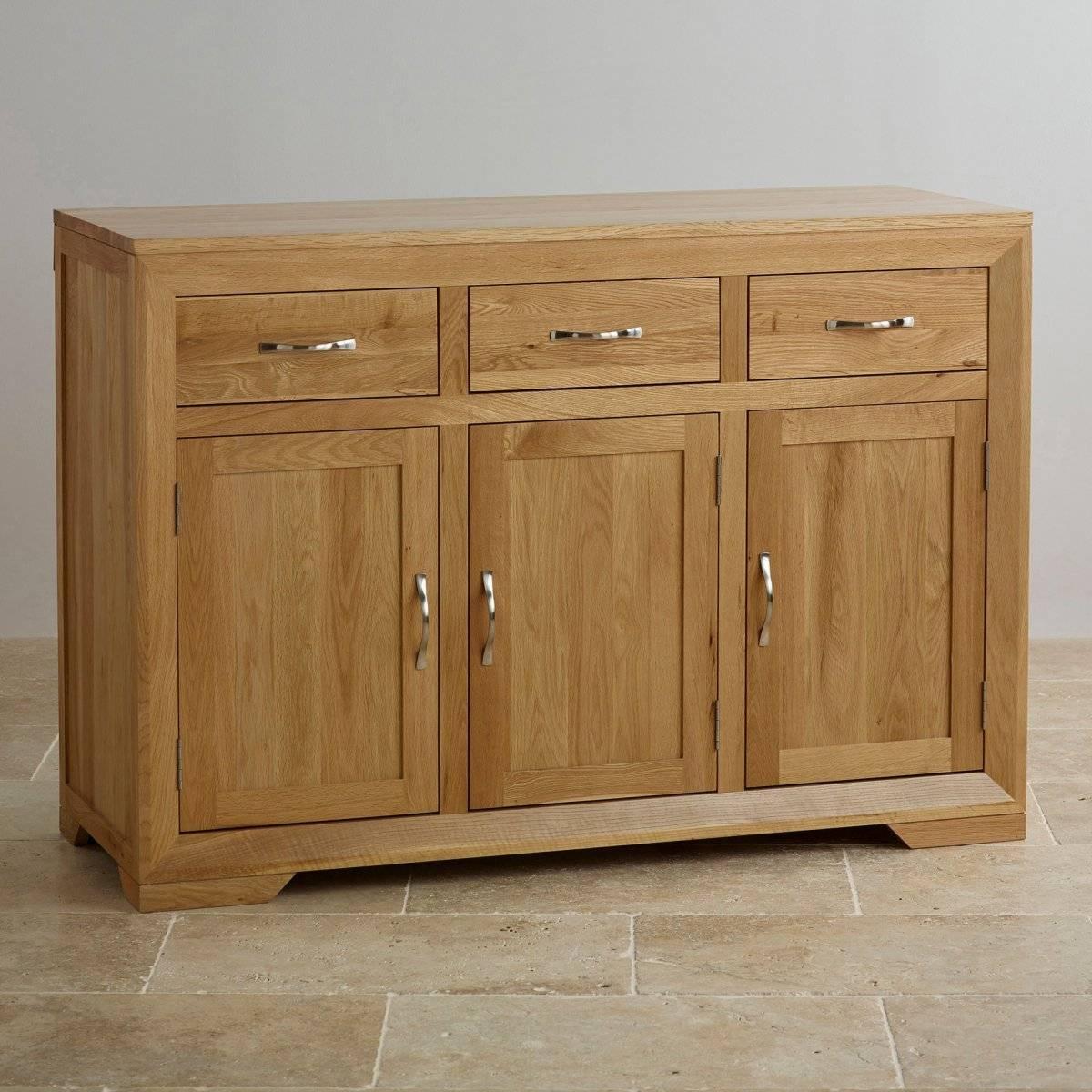 Bevel Natural Solid Oak Large Sideboard | Oak Furniture Land Inside Oak Sideboards (#2 of 20)
