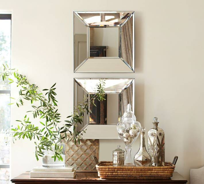 Bevel Square Mirror | Pottery Barn For Small Bevelled Mirrors (#17 of 30)