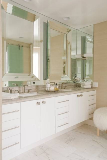 Beveled Bathroom Mirror – Contemporary – Bathroom – Maison Luxe Home Regarding Bevelled Bathroom Mirrors (#9 of 20)