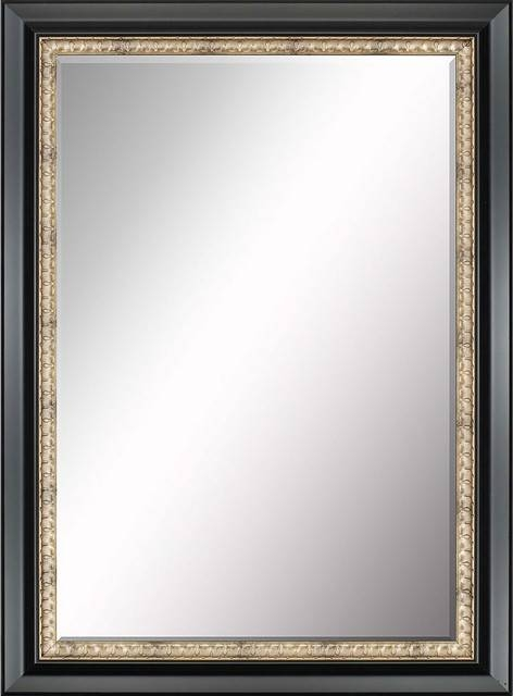 Beveled Mirror, Black With Gold Inlay – Traditional – Wall Mirrors For Black Bevelled Mirrors (#7 of 20)