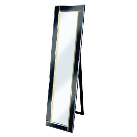 Bevelled Cheval Free Standing Mirror In Black With Led With Regard To Black Free Standing Mirrors (#7 of 30)