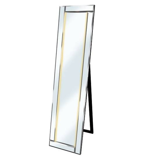 Bevelled Cheval Free Standing Mirror In Silver With Amber In Free Standing Silver Mirrors (#14 of 30)