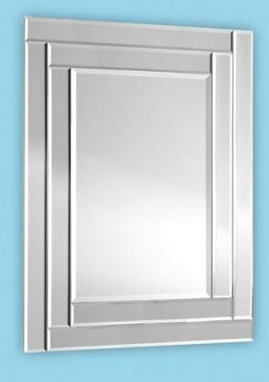 Bevelled Frameless Art Deco Mirror With Double Offset Design (31 X Within Double Bevelled Mirrors (View 8 of 30)
