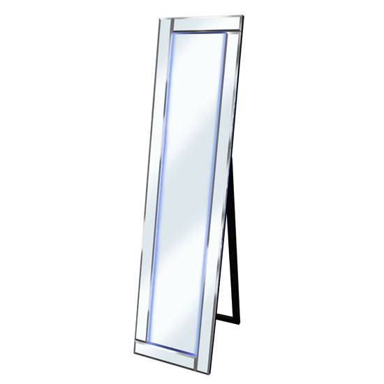 Bevelled Silver Cheval Freestanding Mirror With White Led Inside Free Standing Silver Mirrors (#15 of 30)