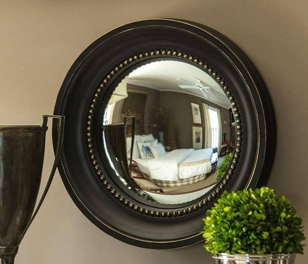 Black And Gold Colonial Convex Wall Mirror – Wall Decor – Dessau Within Round Convex Wall Mirrors (#16 of 30)