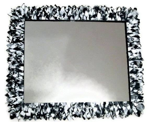 Black And White Large Mirror Wall Mirror Bathroom Mirror With Regard To Long Black Wall Mirrors (#13 of 30)