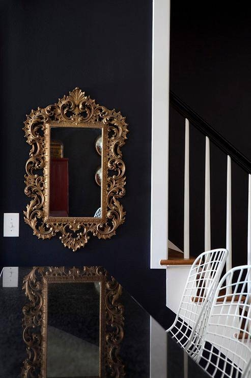Black Dining Room With Gold Rococo Mirror – Contemporary – Dining Room With Regard To Black Rococo Mirrors (#13 of 30)