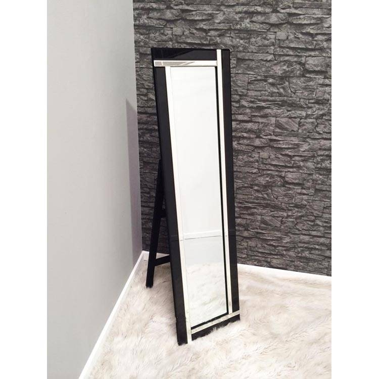 Black Glass Framed Cheval Mirror – 150 X 40 Cm Black & Glass With Regard To Black Free Standing Mirrors (#9 of 30)