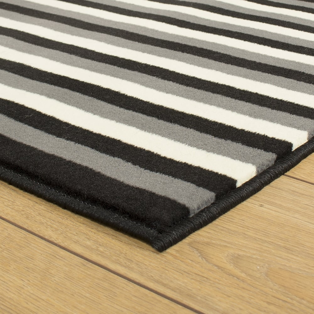 Black Grey Cream Hallway Carpet Runner Striped For Hallway Runners Black And Grey (#4 of 20)