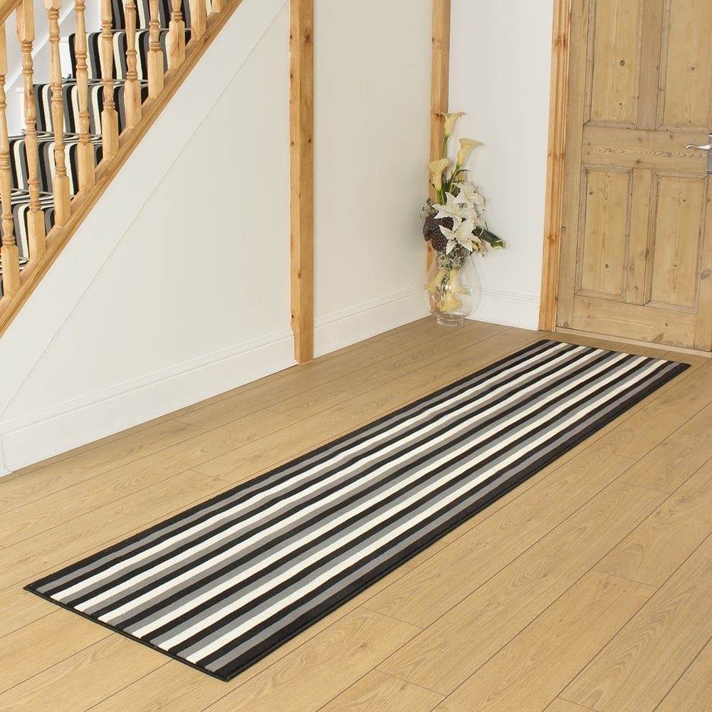 Black Grey Cream Hallway Carpet Runner Striped For Hallway Runners Black And Grey (#3 of 20)