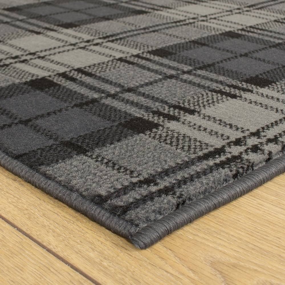 Black Hallway Carpet Runner Tartan Throughout Hallway Runners Black And Grey (#8 of 20)