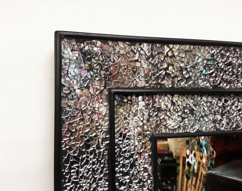 Black Mosaic Mirror Double Frame 68X68Cm Clear Glass Mosaics Inside Black Mosaic Mirrors (#7 of 30)
