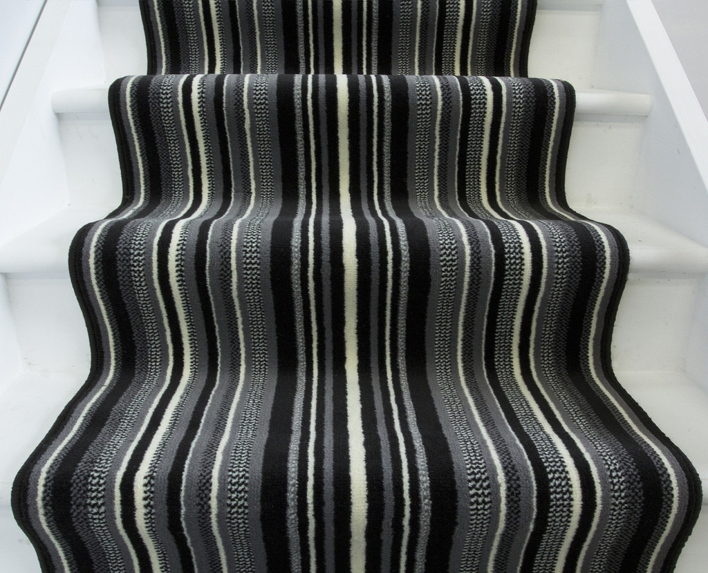 Black Off White Striped Cut To Any Length Per Metre Stair Carpet In Hall Runners Any Length (#9 of 20)