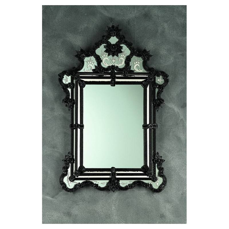 "Black ""olimpia"" Venetian Mirror – Venetian Mirrors For Black Venetian Mirrors (#14 of 30)"