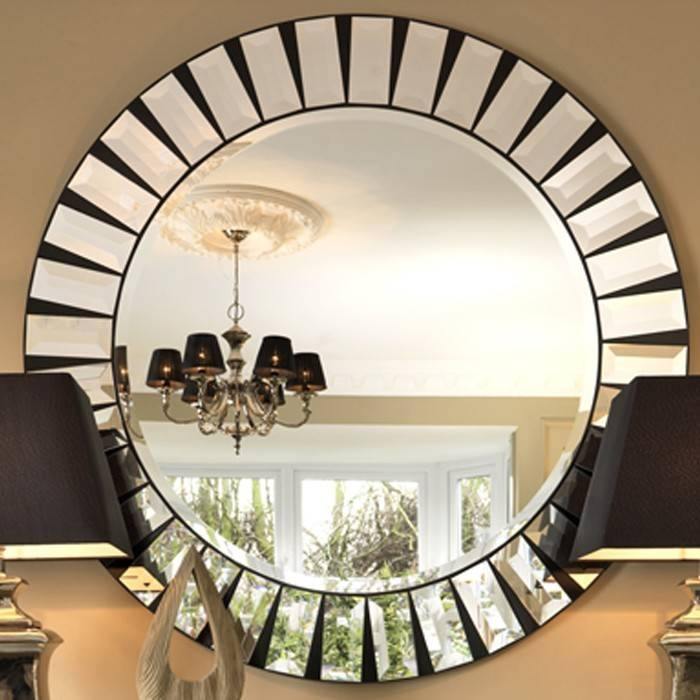 Black Orchid | Luxury Quartz Round Mirror Furniture Mirrors Wall Intended For Round Bevelled Mirrors (#4 of 20)