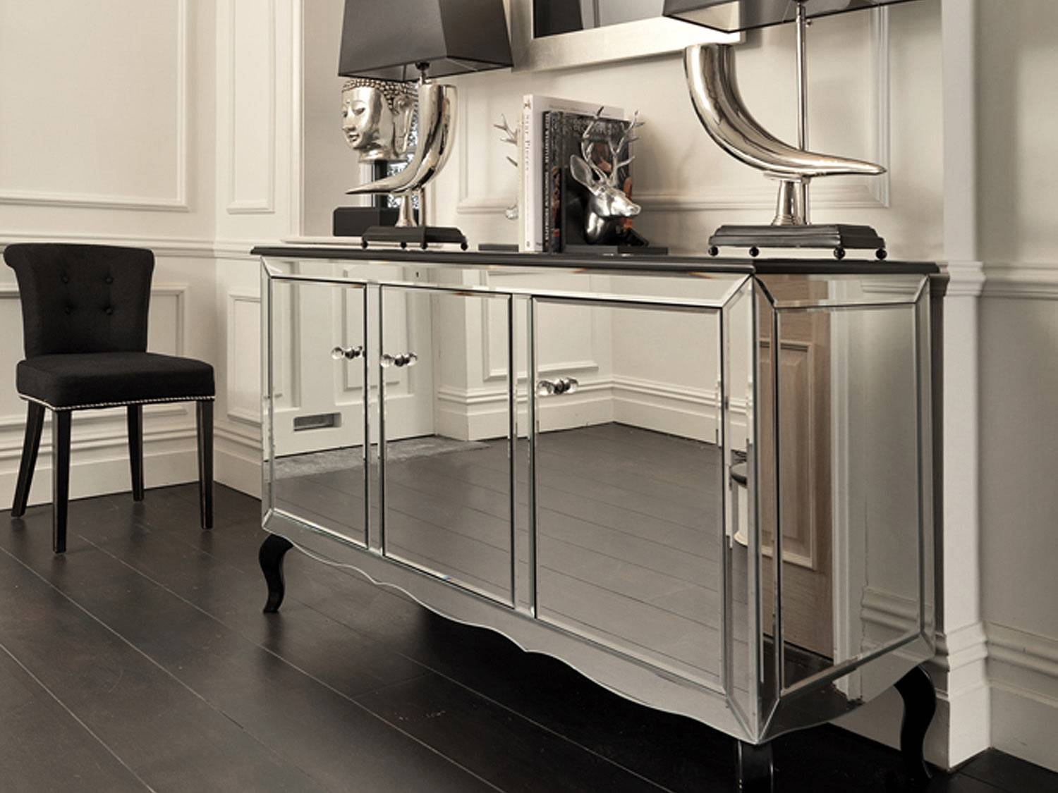 Black Orchid | Mirrored Sideboard | Black Gloss Cabinet Throughout Mirrored Sideboards (#3 of 20)