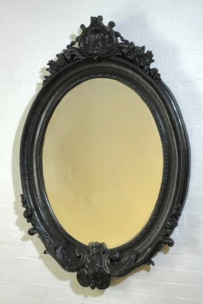 Black Oval Decorative Wall Mirror | French Mirror Company Intended For Black Oval Wall Mirrors (View 4 of 20)