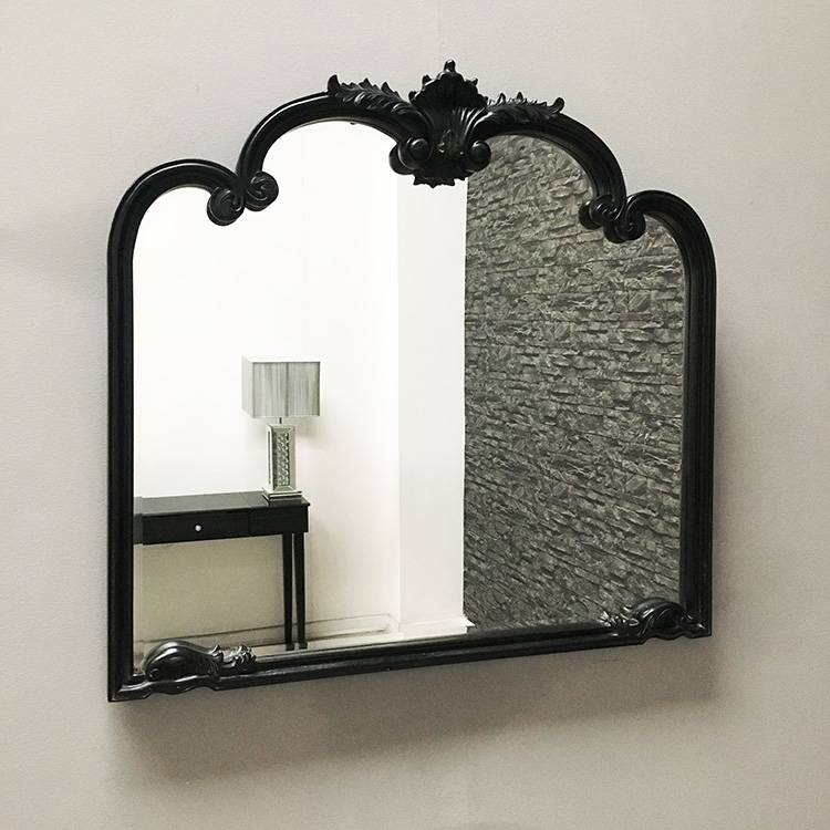 Black Overmantle Mirror 101 X 95Cm Black Overmantle Mirror For Over Mantle Mirrors (#10 of 30)
