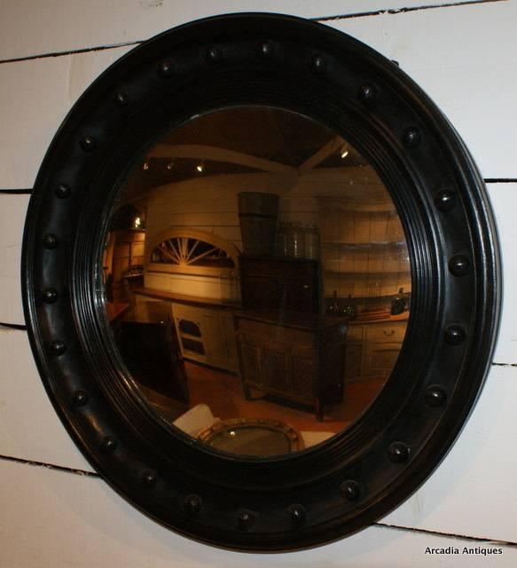 Black Painted Convex Mirror – Antique Mirrors In Black Convex Mirrors (#8 of 20)
