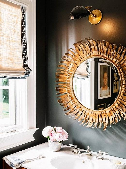Black Powder Room With Gold Mirror – Transitional – Bathroom Inside Black And Gold Wall Mirrors (#16 of 20)