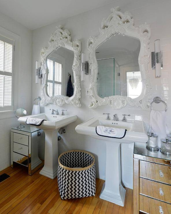 Black Rococo Mirror – Eclectic – Bathroom With Large White Rococo Mirrors (#18 of 30)