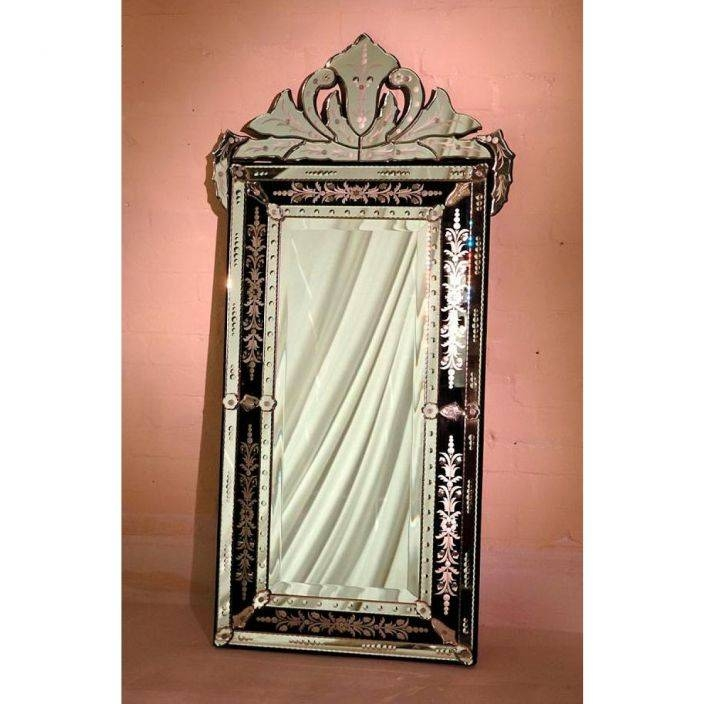 Black Venetian Mirror With Crown And Etching | French Mirrors For Black Venetian Mirrors (#15 of 30)