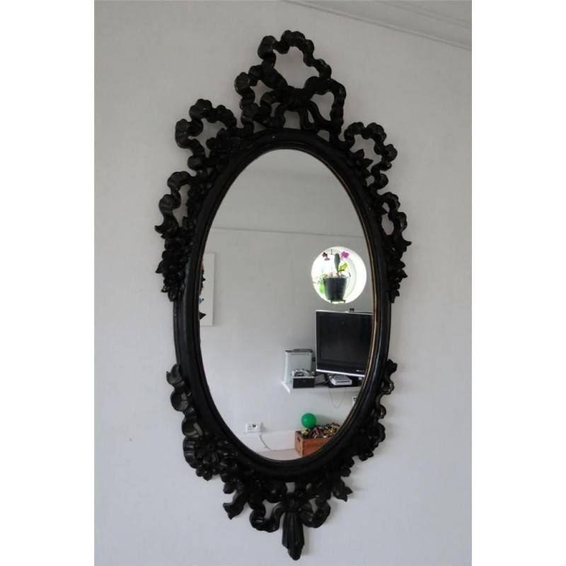 Black Victorian Style Plastic Oval Shabby Chic Wall Mirror 81X37Cm Inside Black Shabby Chic Mirrors (#16 of 20)
