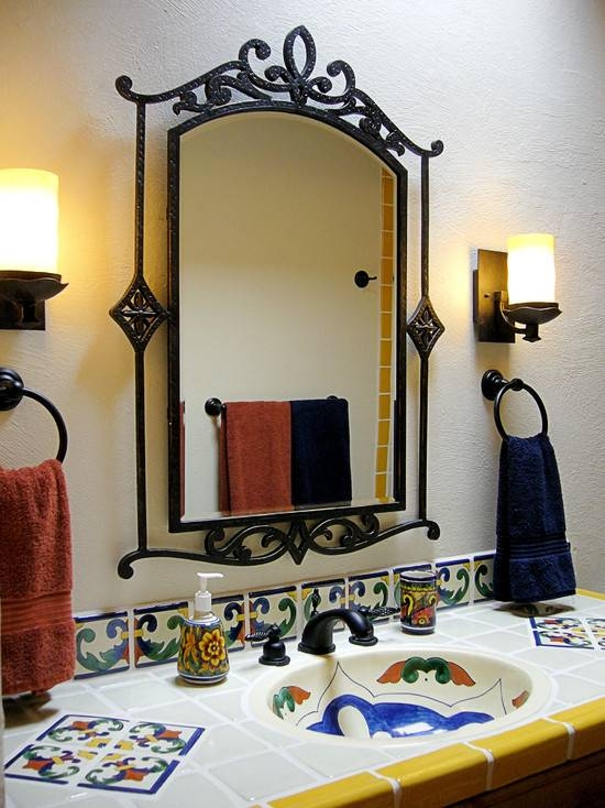 Black Wrought Iron Mirrors For Bathroom For Black Wrought Iron Mirrors (#10 of 20)