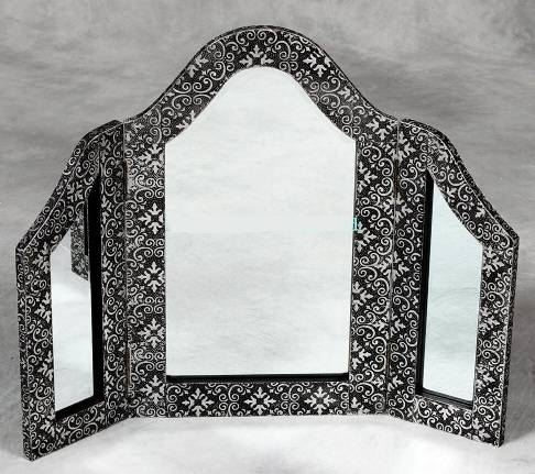 Blackened Silver Embossed 3 Fold Dressing Table Mirror Throughout Silver Dressing Table Mirrors (#4 of 20)